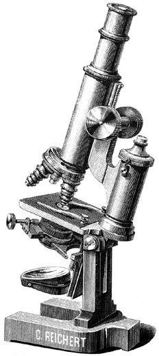 Stativ II von Carl Reichert. Abb. aus: Ch. Reichert Vienne: Catalogue illustré des microscopes, microtomes etc; No. XV; Wien 1888