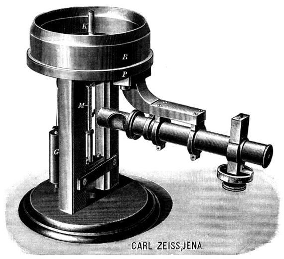 Zeiss Sphärometer; Abb. aus: Carl Zeiss Optical Works Jena, Optical Measuring Instruments, 1893